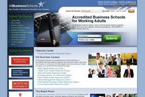 Home page redesign for AllBusinessSchools.com which was used as a template for 7 other verticals