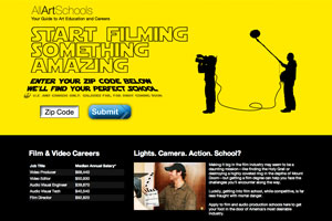 Film school landing page for AllArtSchools.com