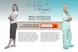 Landing page promoting new health care careers in 2012